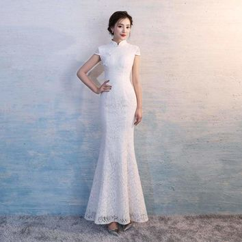 Lace Cheongsam Sexy White Qipao Long Traditional Chinese Oriental Style Maxi Dress