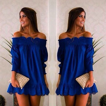 Sweet Boat Neck Blue Casual Party Dresses Ladies Beach Summer Dress Sexy Blue Party Dresses Ruffles Sweet Girls Dress