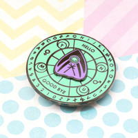 "Spirit Board Spinner ""Kawaii Pastel"" enamel pin from Never Not Clever"
