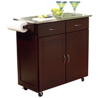 TMS Venice Kitchen Island with Stainless Steel Top
