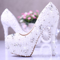 Handmade Beaded Shoes woman high heel White Rhinestone Wedding Shoes sy-1407