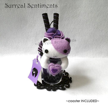 Surreal Black Cherry Cat Parfait. Cute Cat Plush, Pastel Goth, Gothic Lolita Decoration, Goth Cat Plush, Purple Room Decor, Sweet 16 Gift