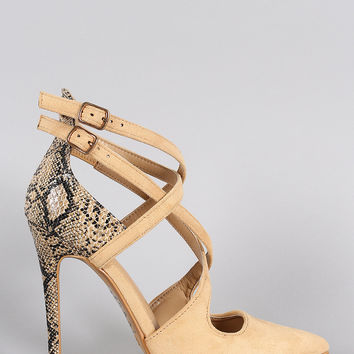 Shoe Republic LA Suede CrissCross Pointy Toe Snake Stiletto Pump