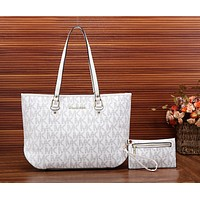 MK Popular Women Shopping Bag Leather Handbag Bag Shoulder Bag Purse Wallet Two Piece Set White I-MYJSY-BB