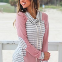 Mauve and Gray Striped Sweater