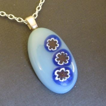 Blue Necklace, Flower Necklace, Floral Necklace, Flower Jewelry, Fused Glass Jewelry - My Clematis -  2872 -2