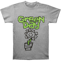 Green Day Men's  Flower Pot T-shirt Grey Rockabilia