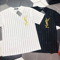 YSL New fashion bust embroidery letter diamond stripe couple short sleeve top t-shirt White