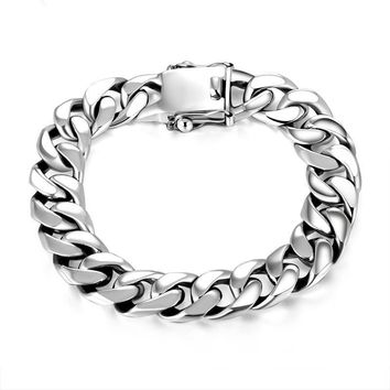 SILVER BRACELETS MAN HIGH POLISH CURB LINK CHAIN BRACELET FOR MEN VINTAGE PUNK