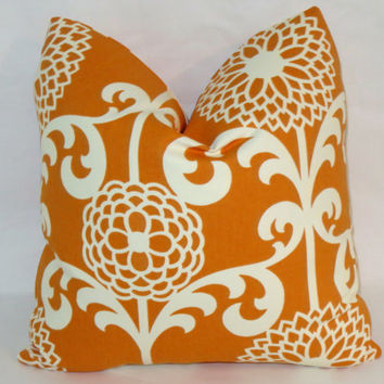 "Orange and White Floral Throw Pillow 17"" Square Cotton Sateen Waverly Mod Zinnias Insert Included Ready Ship"