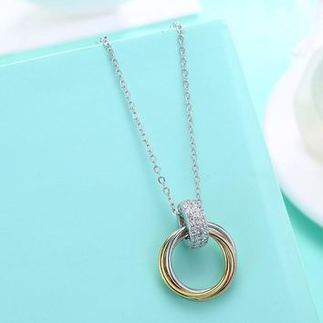 Swarovski Crystal Circle of Life Triple Rings Sterling Silver Necklace
