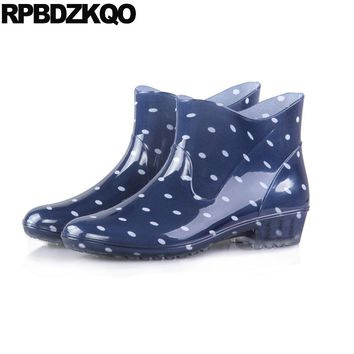 Polka Dot Slip On Waterproof Rainboots Flat Size 41 Women Ankle Boots 2016 Round Toe Wide Calf Pvc Cheap Booties Shoes Blue