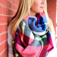 Navy, Red, Yellow, and Cream Blanket Scarf