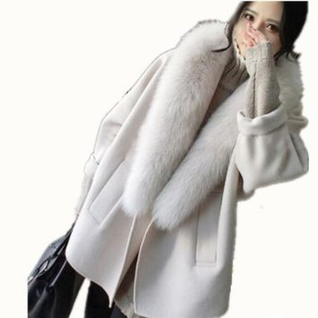 Women Cashmere White Gray Overcoat 2017 New Winter Long Sleeved Cocoon Woolen Coats Fox Fur Collar Loose Casual Wool Jackets