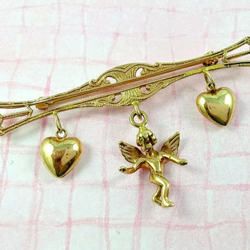 Vintage 14k Puffy Heart and Angel Dangles Bar Pin Brooch Dress Pin Lovely Sweet Outstanding Piece of Yellow Gold Fine Jewelry Giftable