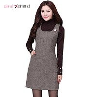 Autumn Winter Woolen Women's Dress Vest Dresses Slim Basic Office Dress Female