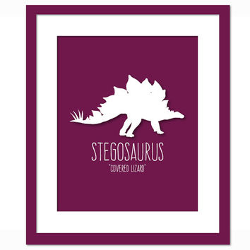 Stegosaurus Dinosaur Art Print Poster - Nursery Bedroom - Dinosaur Birthday - Animal Poster for Children - Dinosaur Party - Kids Wall Art