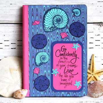 Blue and Pink Seashells Journal, Medium Sized Notebook with Inspirational Words, Altered Composition Book, Travel Diary with Lined Pages