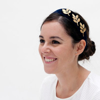Isobel - Dark blue velvet headband with golden brass leaves