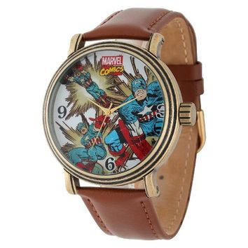 Men's Marvel Captain America Vintage Antique Watch with Alloy Case - Brown/Gold