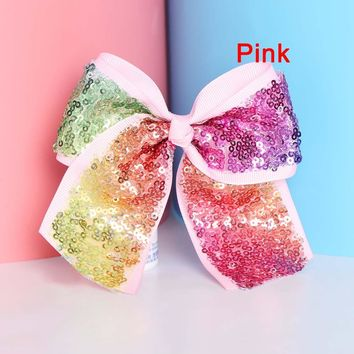 JOJO Hairpins Satin Ribbon Big bowknot hairbands girl barrette colorful bow hair clips Hair Accessories 13cm