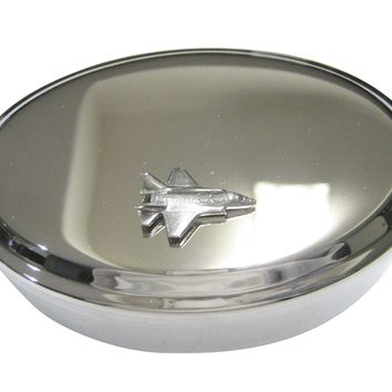 Silver Toned F35 Fighter Jet Plane Oval Trinket Jewelry Box