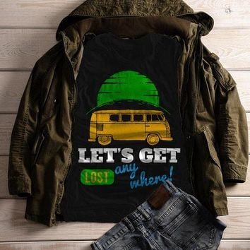 Women's Vintage Van T Shirt Camping Shirts Let's Get Lost Graphic Tee Travel Road Trip TShirt