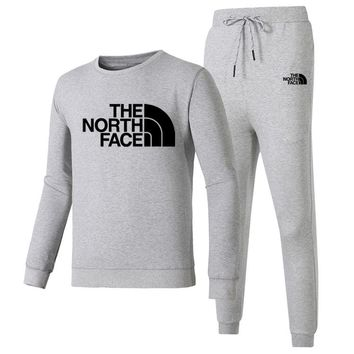 The North Face Autumn And Winter New Fashion Letter Print Long Sleeve Top And Pants Leisure Sports Women Men Two Piece Suit Gray