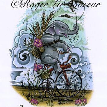"Original art print, Elephant Riding Tricycle, size 8""x10"""