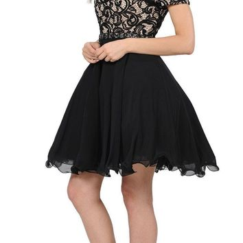 Black Lace Top Peekaboo Sleeves Short Chiffon Homecoming Dress