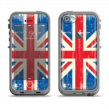 The Grunge Vintage Textured London England Flag Apple iPhone 5c LifeProof Fre Case Skin Set