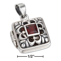 Sterling Silver Accessories:  Square Filigree Locket With Garnet