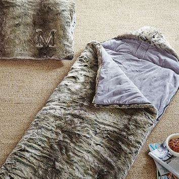 Faux Fur Sleeping Bag W/ Hood, Grey Ombre