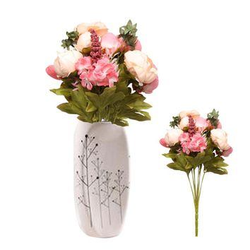 8 Heads Artificial Peony Flowers Pretty Charming Bouquet Festival Party Decorative Flower Wedding Christmas Home Decal Flower