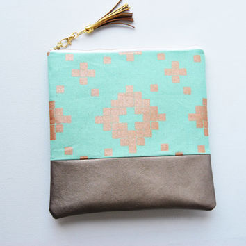 Mint and gold foldover clutch, aztec zipper pouch, casual clutch, gold leather clutch, southwest zipper pouch, iPad sleeve, kindle case