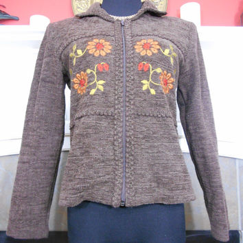 80s, Ladies Chocolate-Brown Embroidered Jacket With Collar by Koret Dress Petite, Medium Petite, Zippered, Shoulder Pads, Fitted Silhouette