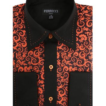 Ferrecci Men's Satine Hi-1024 Black & Orange Scroll Pattern Button Down Dress Shirt