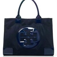 Tory Burch Ella Tote Nylon and Patent Handbag French Navy