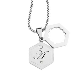 Double Hexagram Initial Necklace with Cubic Zirconia by Pink Box - A