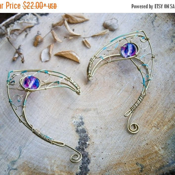 Brass earcuffs, elf ear cuffs, elven earcuffs with colorfull spotted glass beads,statement earrings, woodland, vulcan ears, purple, ear tips