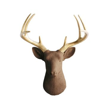 The Virginia | Large Deer Head | Faux Taxidermy | Chocolate Brown + Gold Antlers Resin
