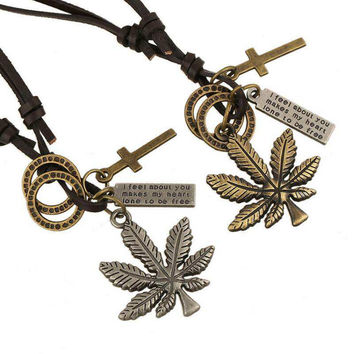 New Harajuku Steampunk Style Weed Necklace Chunky Maple Leaf Cross Dog Tag Pendants Women Necklace Long Leather Choker Jewelry