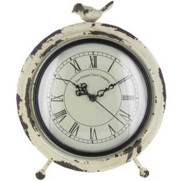 Antique White Metal Table Clock with Bird on Top | Hobby Lobby | 631218
