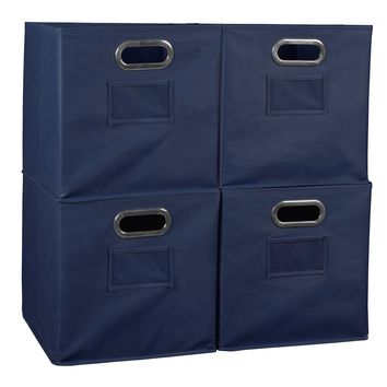Niche Cubo Set of 4 Foldable Fabric Storage Bins- Blue