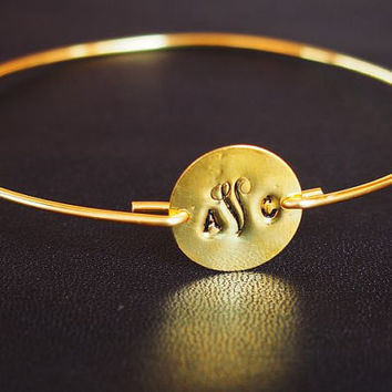 Monogram bracelet, hand stamped 3 initial monogrammed bracelet, bangle bracelet, wire bracelet, gold bracelet, best Personalized Gift