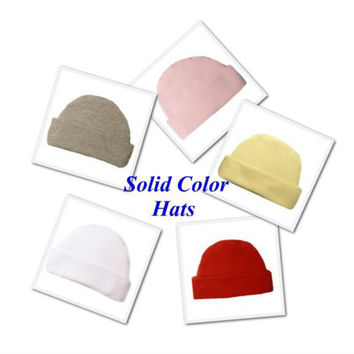 Newborn and Preemie Solid Color Capped Unisex Baby Hats