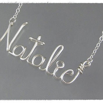 FREE SHIPPING!!!  Natalie Wire Word Name Pendant Necklace