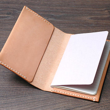 Personalized Leather Field Notes Cover /  Moleskine Cahier Pocket Journal, Vegetable-tanned Leather, Handmade Hand-stitched Natural Tan
