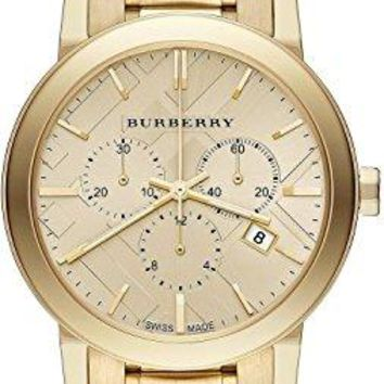 Burberry Woman's Watch Yellow Gold-Tone Stainless Steel Chronograph Ladies Watch 38mm
