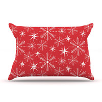 "Julie Hamilton ""Snowflake Berry"" Holiday Pillow Case"
